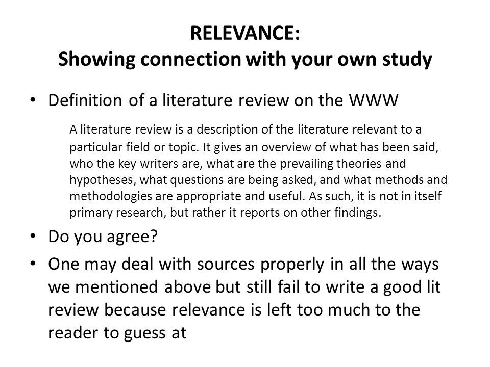 RELEVANCE: Showing connection with your own study