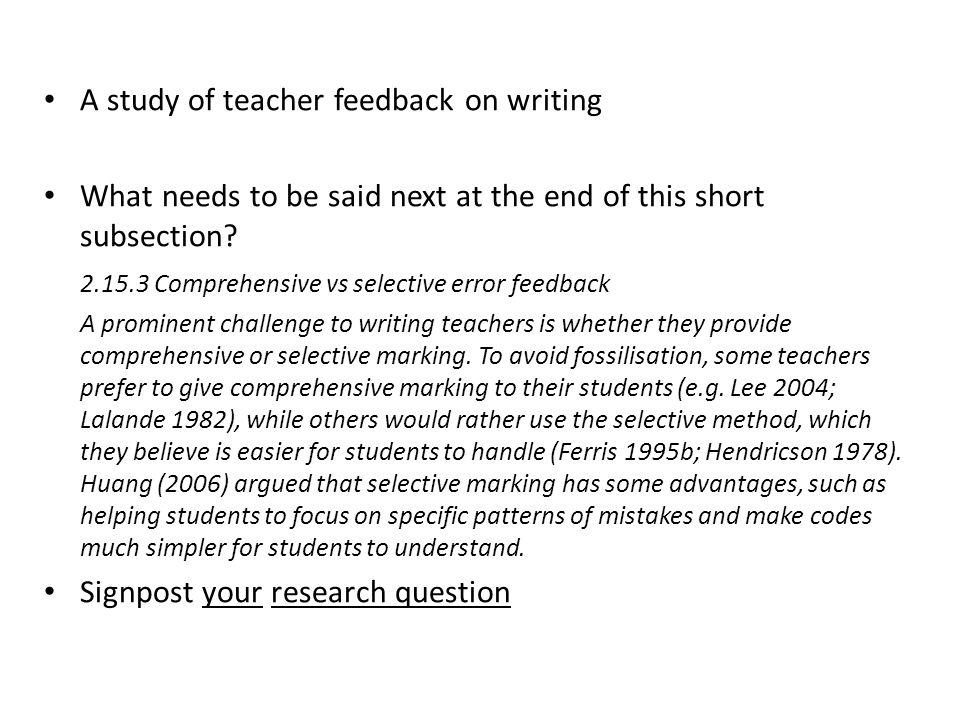 A study of teacher feedback on writing