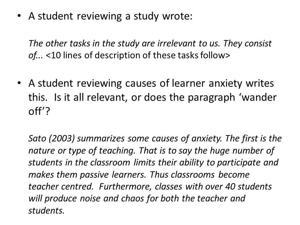A student reviewing a study wrote: