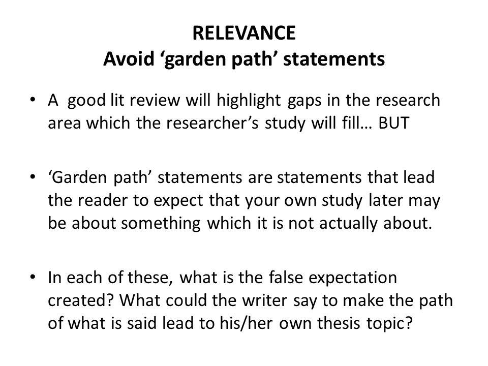 RELEVANCE Avoid 'garden path' statements