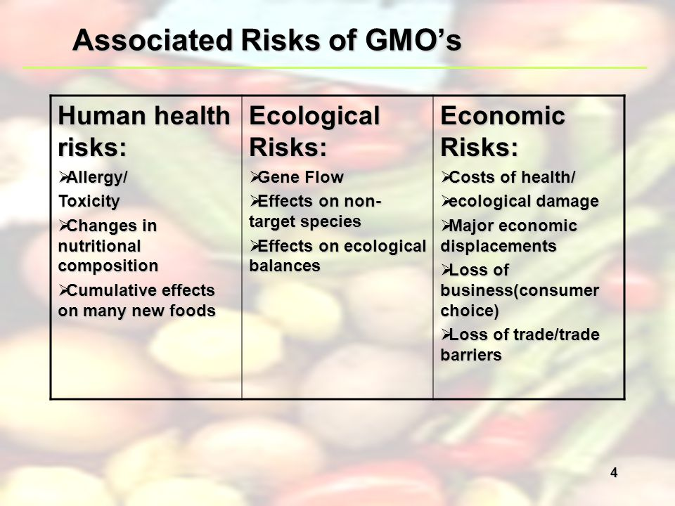 the health threats of genetically modified organisms Managing the risks from gmos requires an assessment of the risks to human  health and the environment this assessment must be carried out.