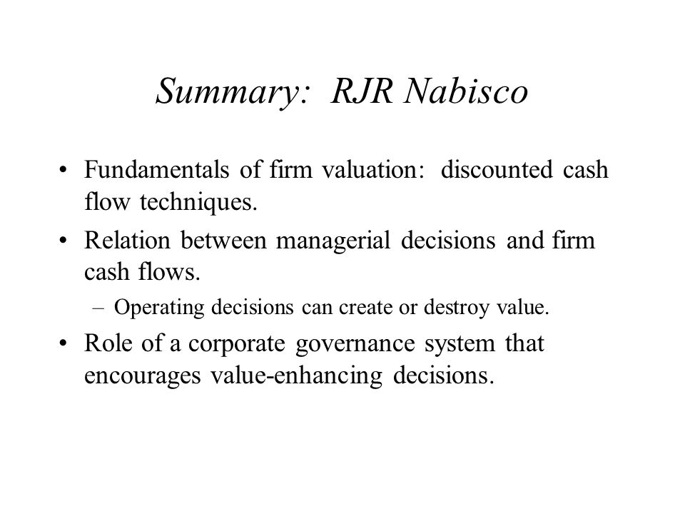rjr nabisco case study solution ppt