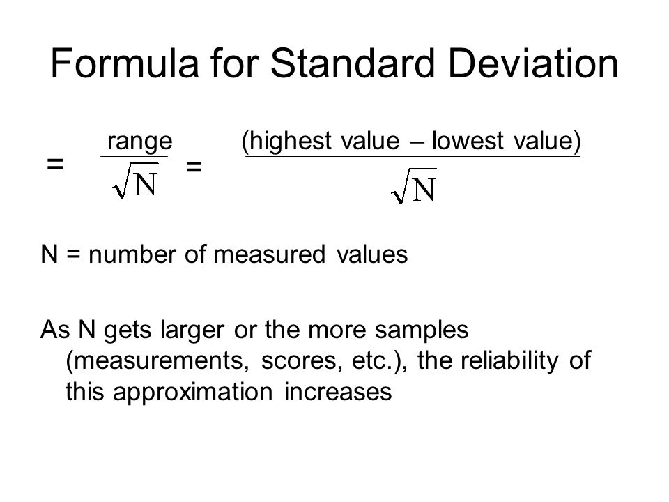 standard deviation and data Finding the mean enter the scores in one of the columns on the excel spreadsheet (see the example below) after the data have been entered, place the.