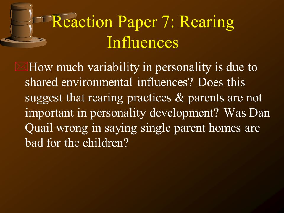 reaction paper about personality Temperament evaluation  a 4-6' long rope, a 3' stick or a broom, a piece of paper, canned dog food and a bowl for these  test the dog's reaction to the.