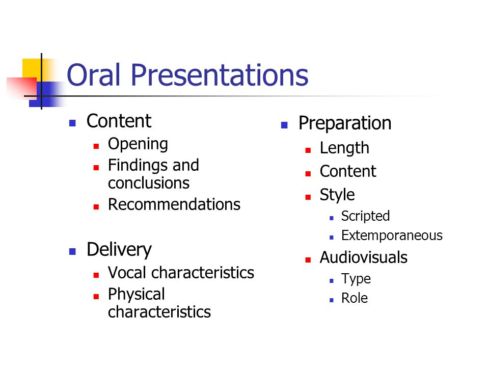 preparation and delivery of nursing oral presentation A common assignment in technical writing courses—not to mention in the workplace—is to prepare and deliver an oral presentation you might wonder what an oral report is doing in a writing classemployers certainly look for coursework and experience in preparing written documents, but they also look for some experience in oral presentations as well.