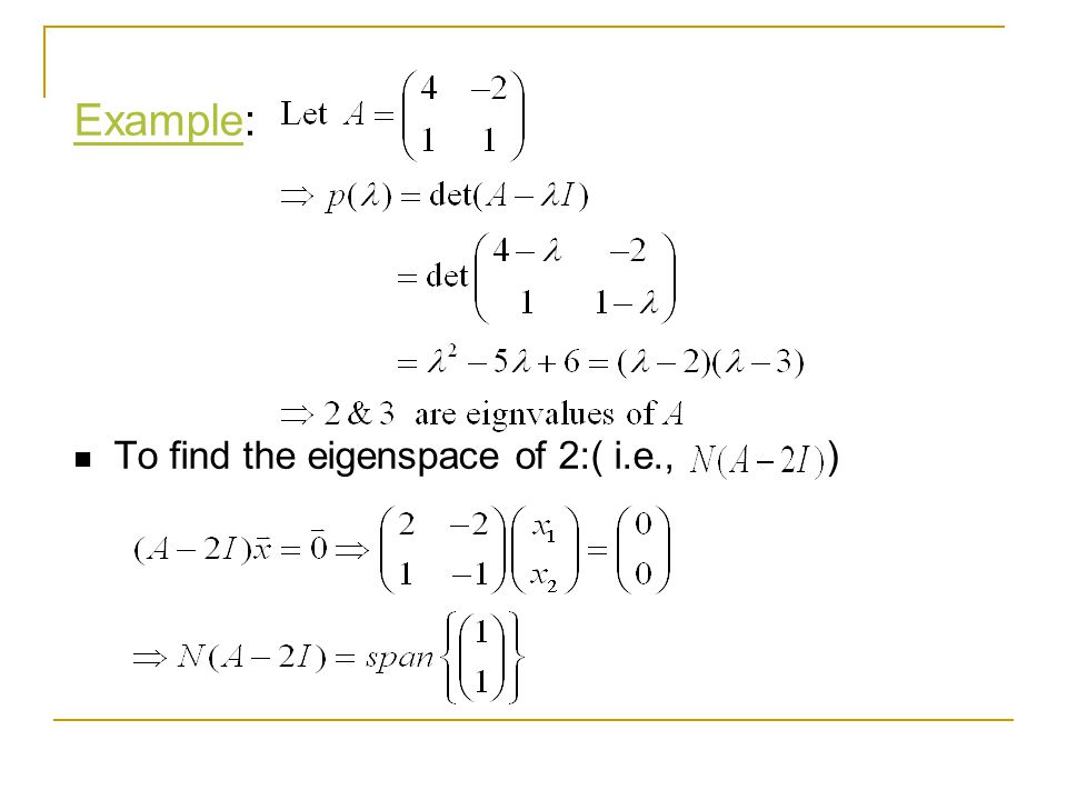 Example: To find the eigenspace of 2:( i.e., )