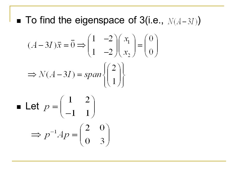 To find the eigenspace of 3(i.e., )