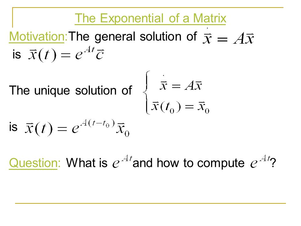 The Exponential of a Matrix