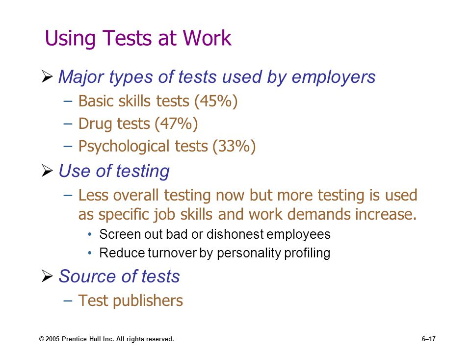 psychological tests used in employee selection pdf