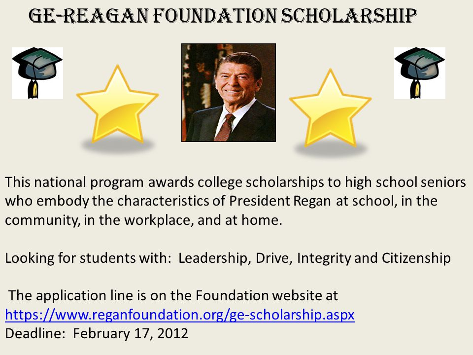 reagan scholarship essay Honoring the legacy and character of nation's 40th president, the ge-reagan foundation scholarship program rewards college-bound students who experience for the essay names, titles, and email addresses of your high school principal, guidance counselor, and one other person at your school,.