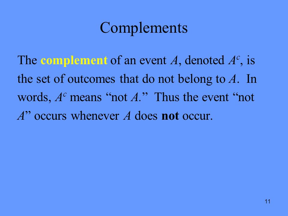 Complements The complement of an event A, denoted Ac, is