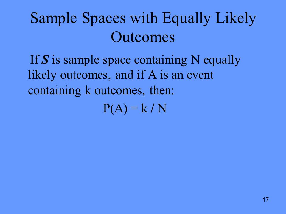 Sample Spaces with Equally Likely Outcomes
