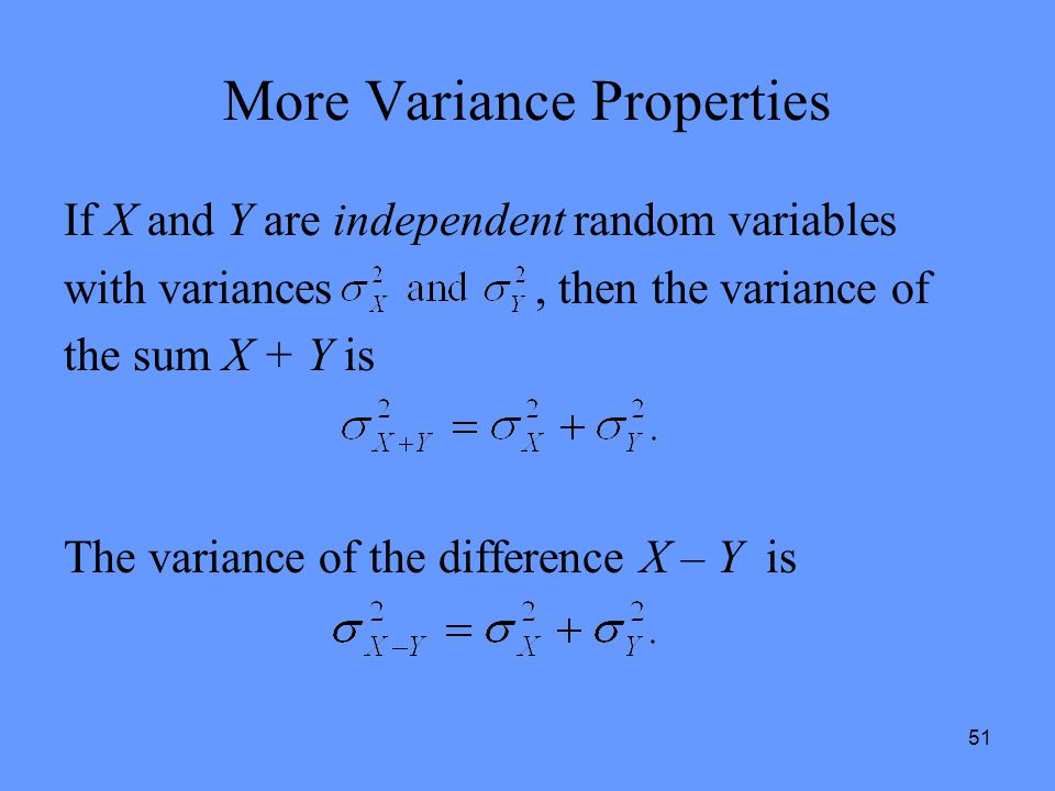 More Variance Properties
