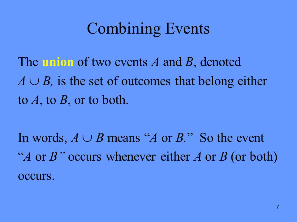 Combining Events The union of two events A and B, denoted