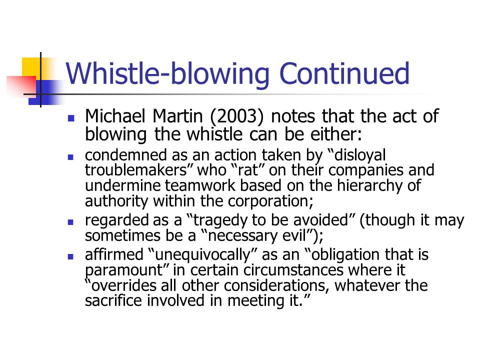 The Importance of Whistle Blowing