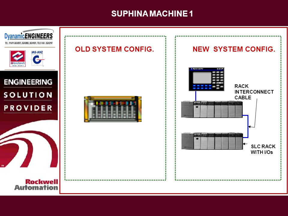 SUPHINA MACHINE 1 OLD SYSTEM CONFIG. NEW SYSTEM CONFIG.