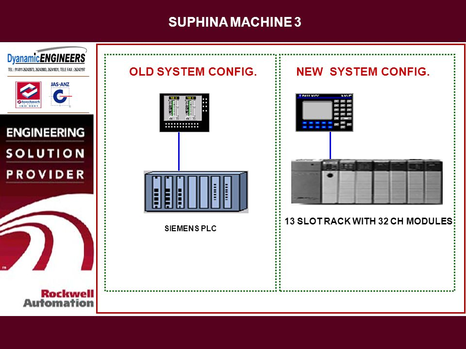 SUPHINA MACHINE 3 OLD SYSTEM CONFIG. NEW SYSTEM CONFIG.