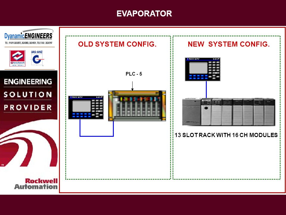 EVAPORATOR OLD SYSTEM CONFIG. NEW SYSTEM CONFIG.