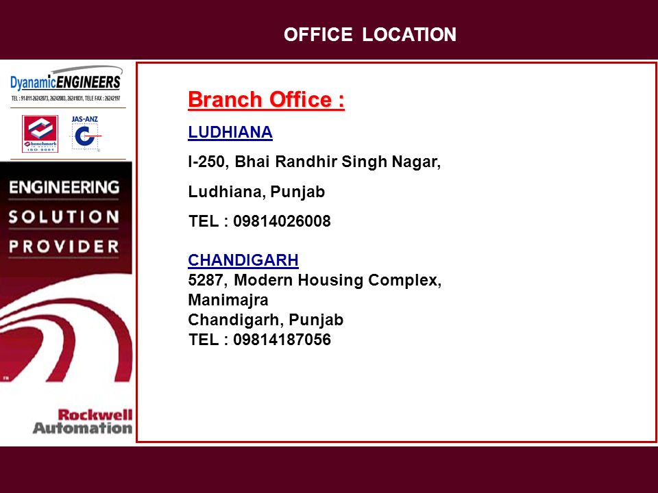 OFFICE LOCATION Branch Office : LUDHIANA