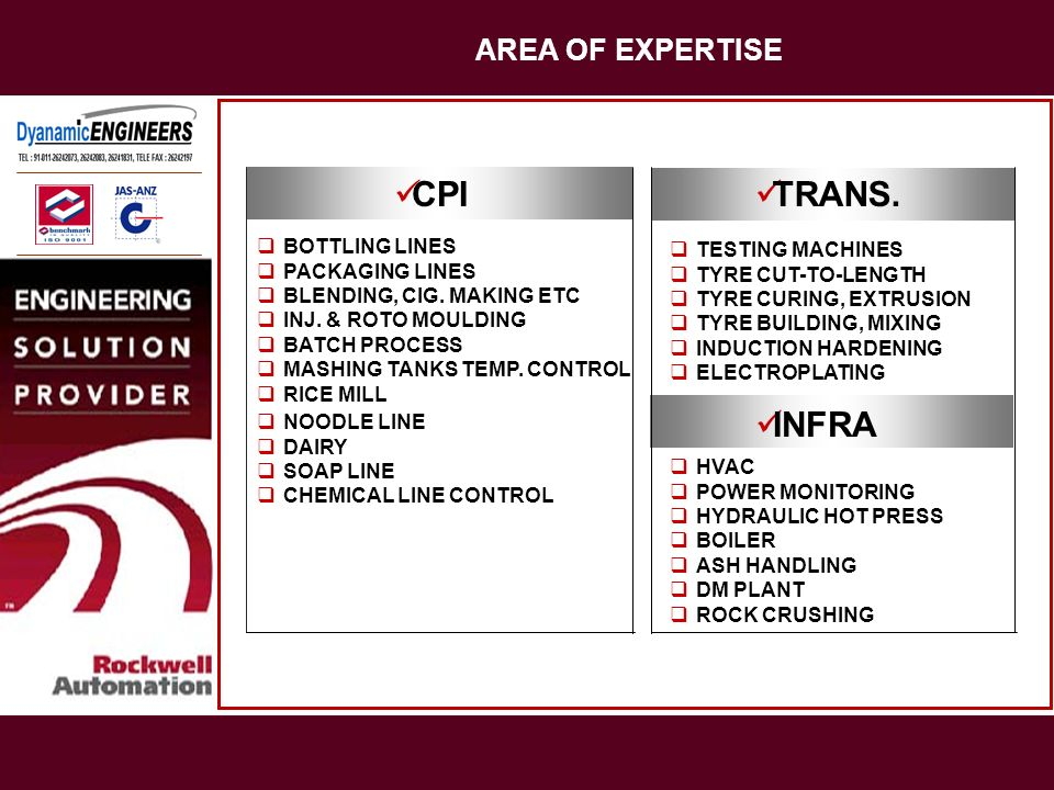 CPI TRANS. INFRA AREA OF EXPERTISE BOTTLING LINES TESTING MACHINES