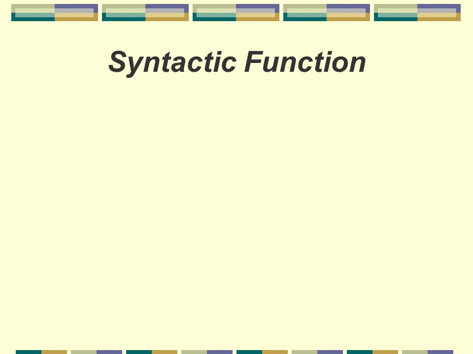Syntactic Function