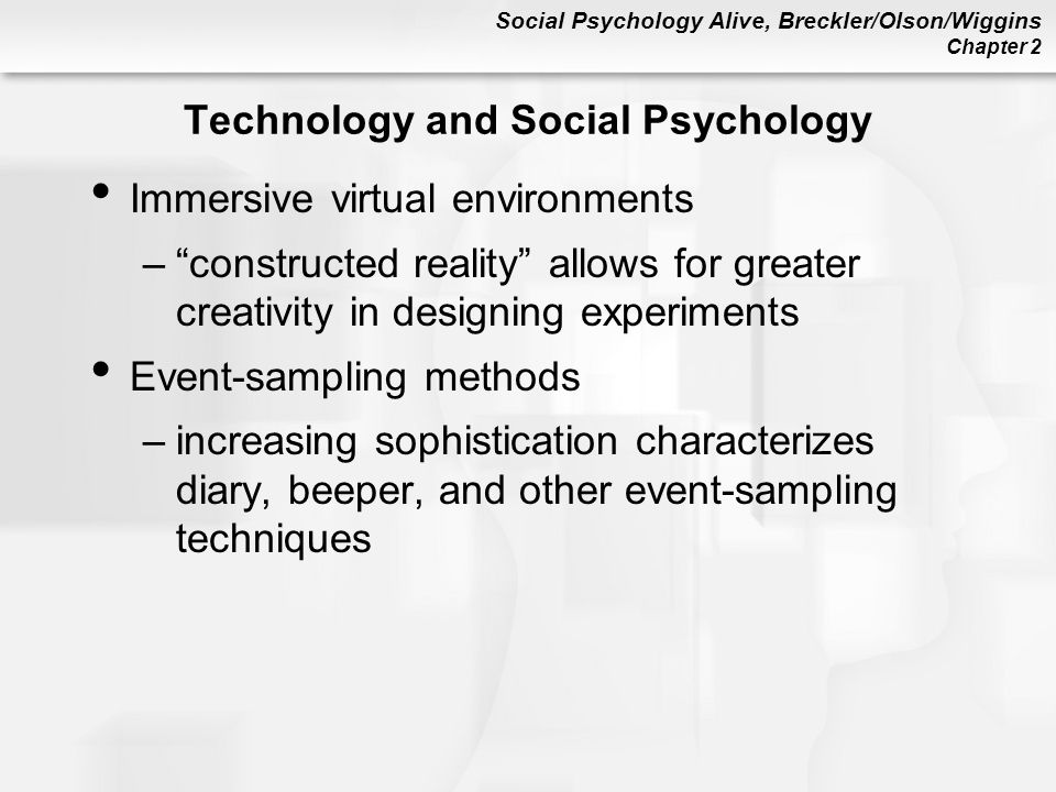 'the methods available to social psychology The directory below focuses mainly on social psychology and a few large general psychology organizations for other groups, please see.