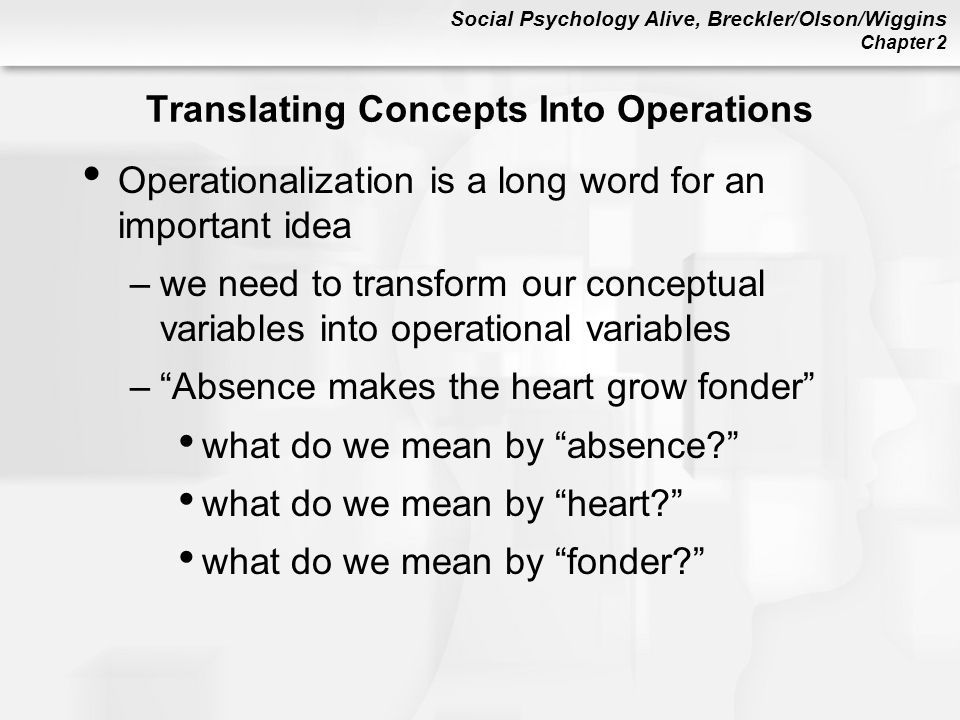 Translating Concepts Into Operations
