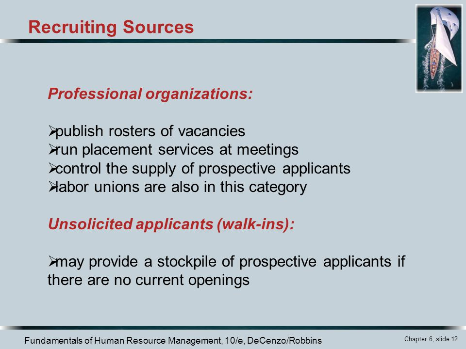 Recruiting Sources Professional organizations: