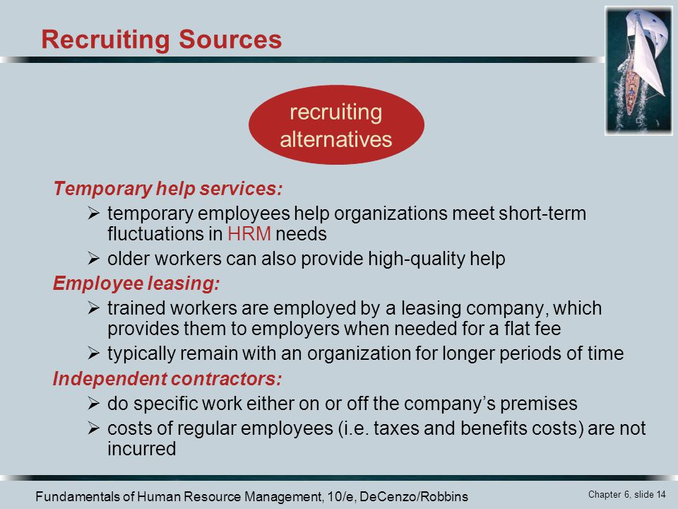 Recruiting Sources recruiting alternatives Temporary help services: