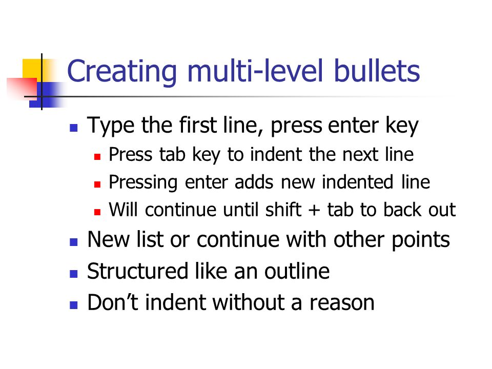 Creating multi-level bullets