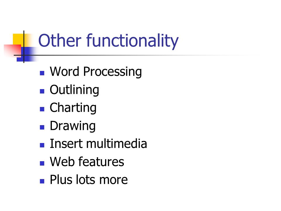Other functionality Word Processing Outlining Charting Drawing