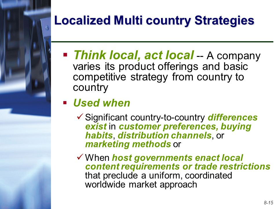Localized Multi country Strategies