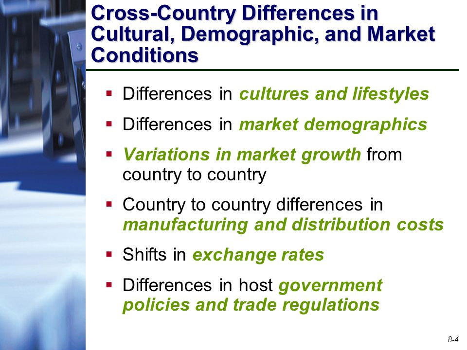Cross-Country Differences in Cultural, Demographic, and Market Conditions