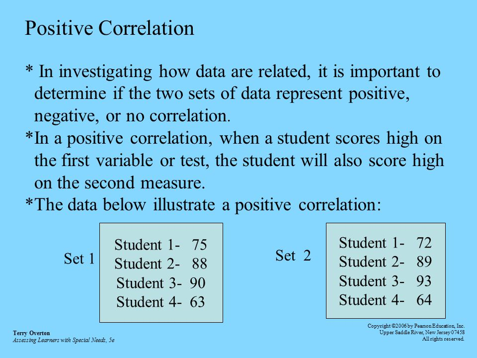 Positive Correlation * In investigating how data are related, it is important to. determine if the two sets of data represent positive,