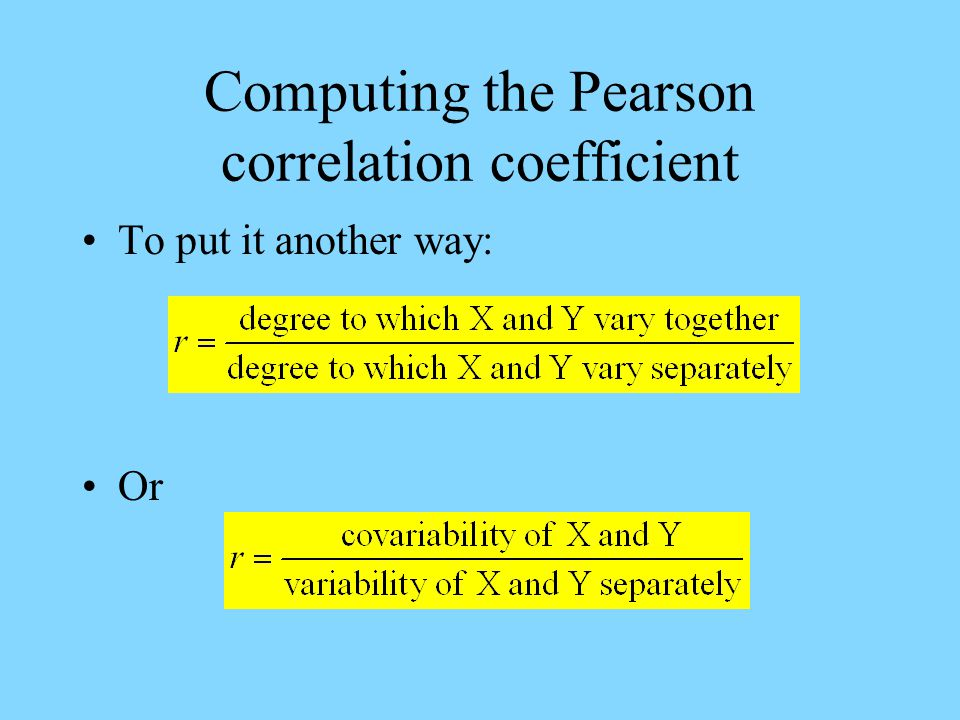 Computing the Pearson correlation coefficient