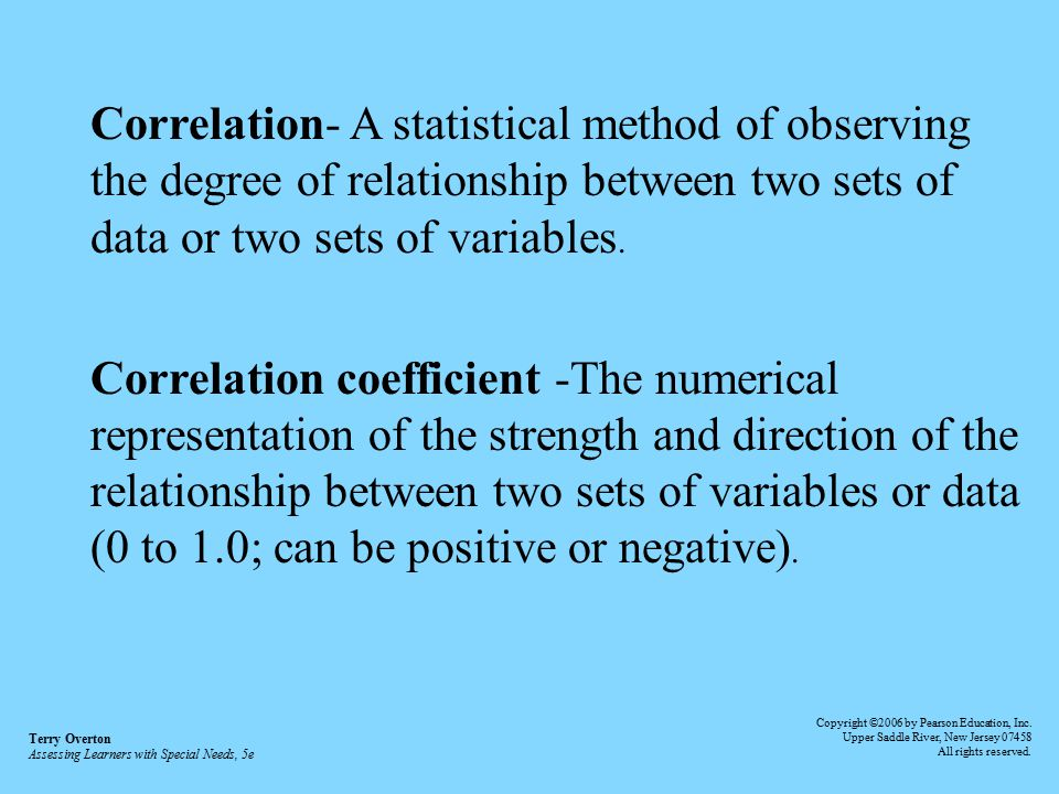 Correlation- A statistical method of observing