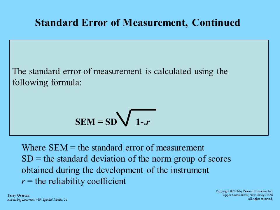 Standard Error of Measurement, Continued