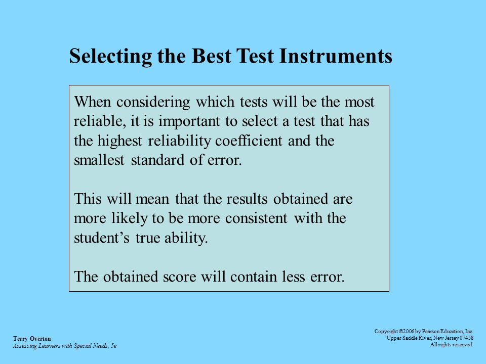Selecting the Best Test Instruments