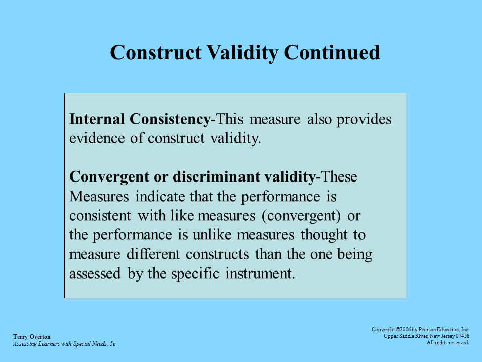 the contrasting evidence of the validity There are many different types of validity construct validity construct validity refers to the this is referred to as concurrent validity evidence.