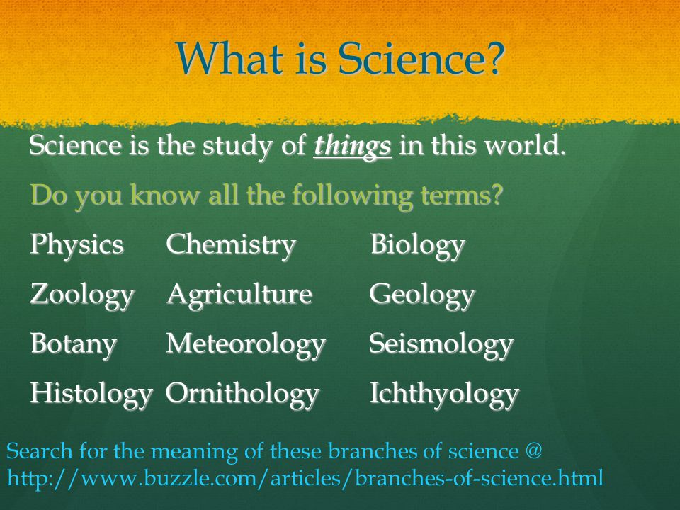 Word List: Definitions of Sciences and Studies - Phrontistery
