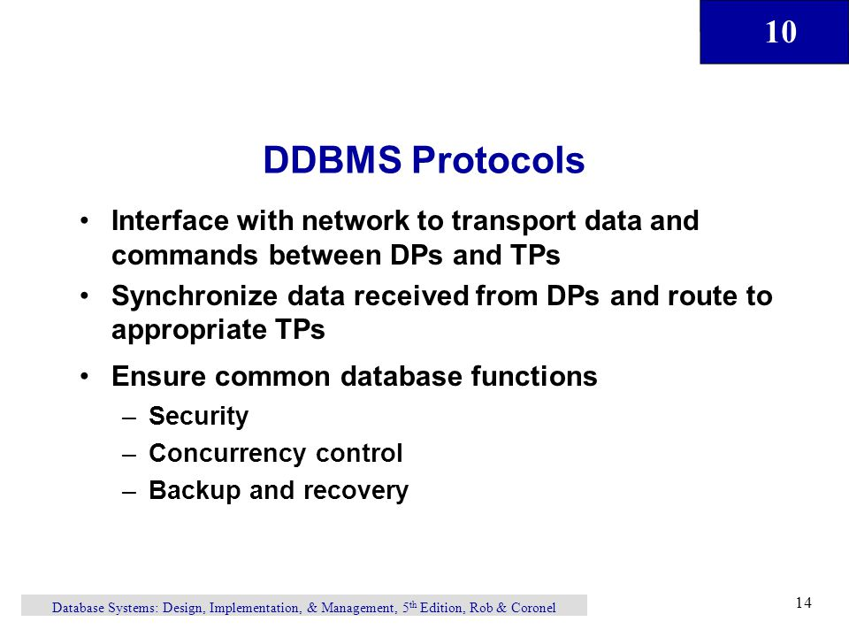 DDBMS Protocols Interface with network to transport data and commands between DPs and TPs.