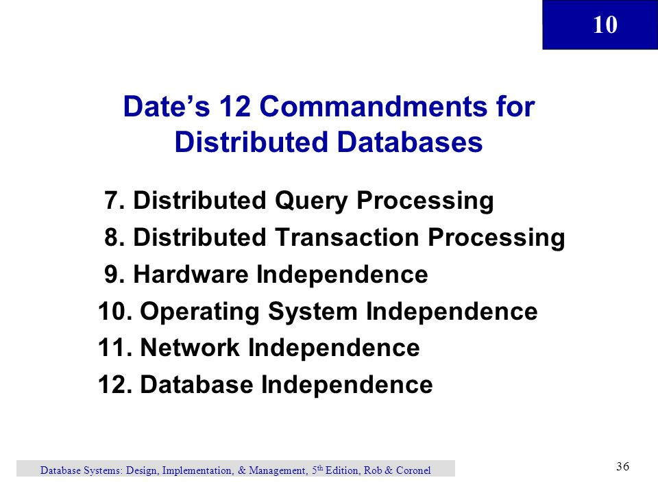 Date's 12 Commandments for Distributed Databases