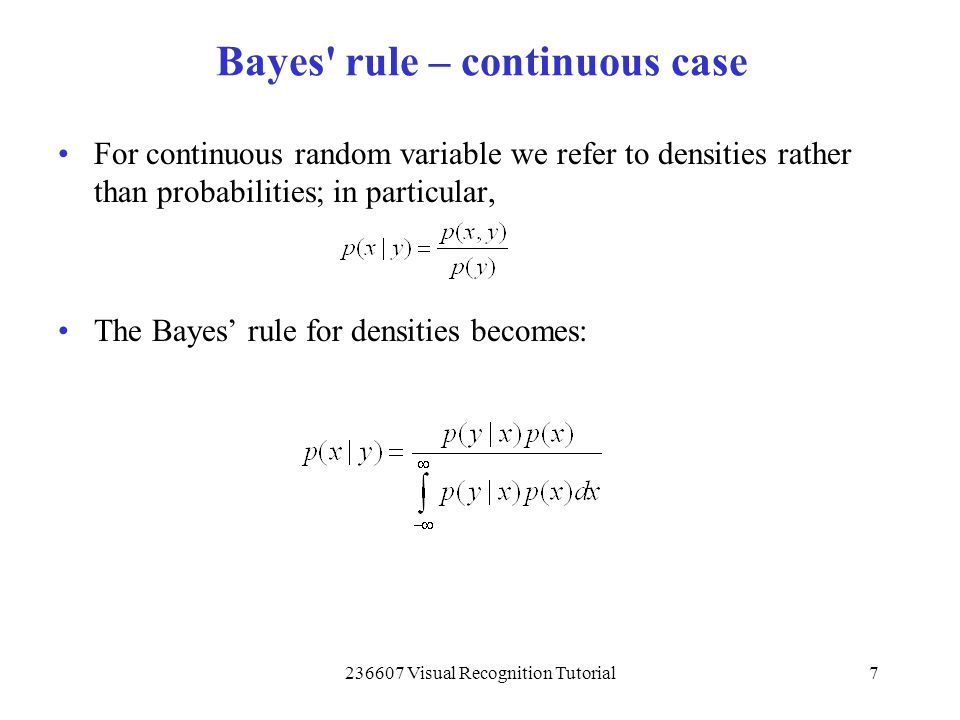 Bayes rule – continuous case