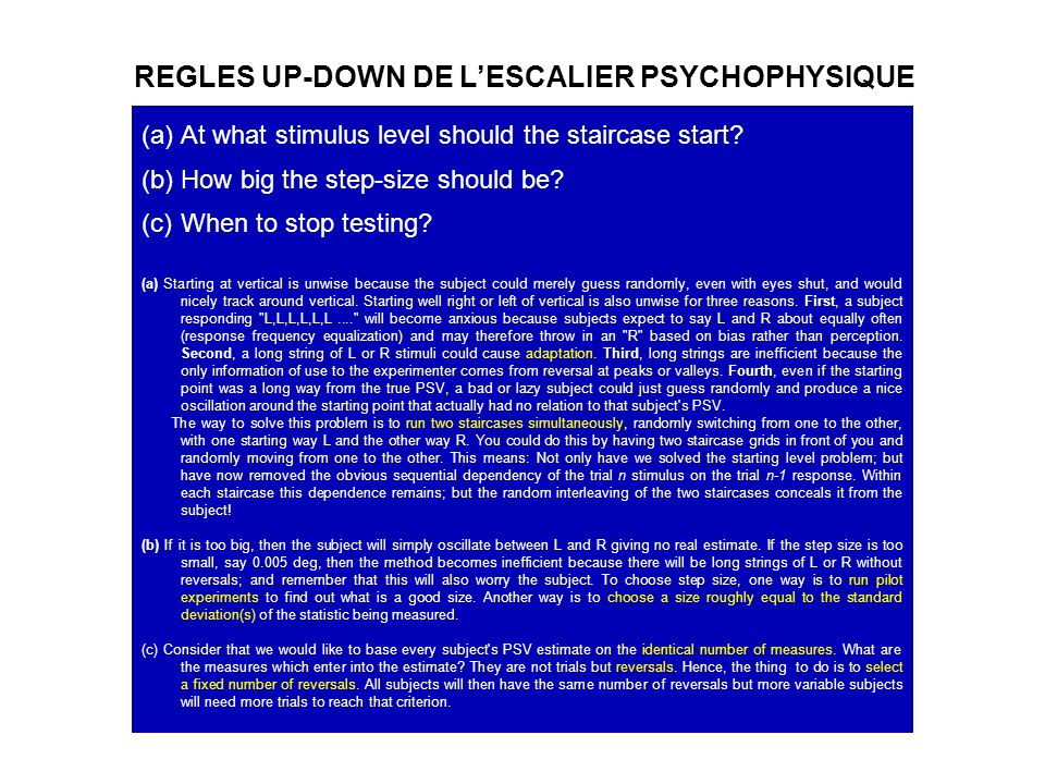 REGLES UP-DOWN DE L'ESCALIER PSYCHOPHYSIQUE