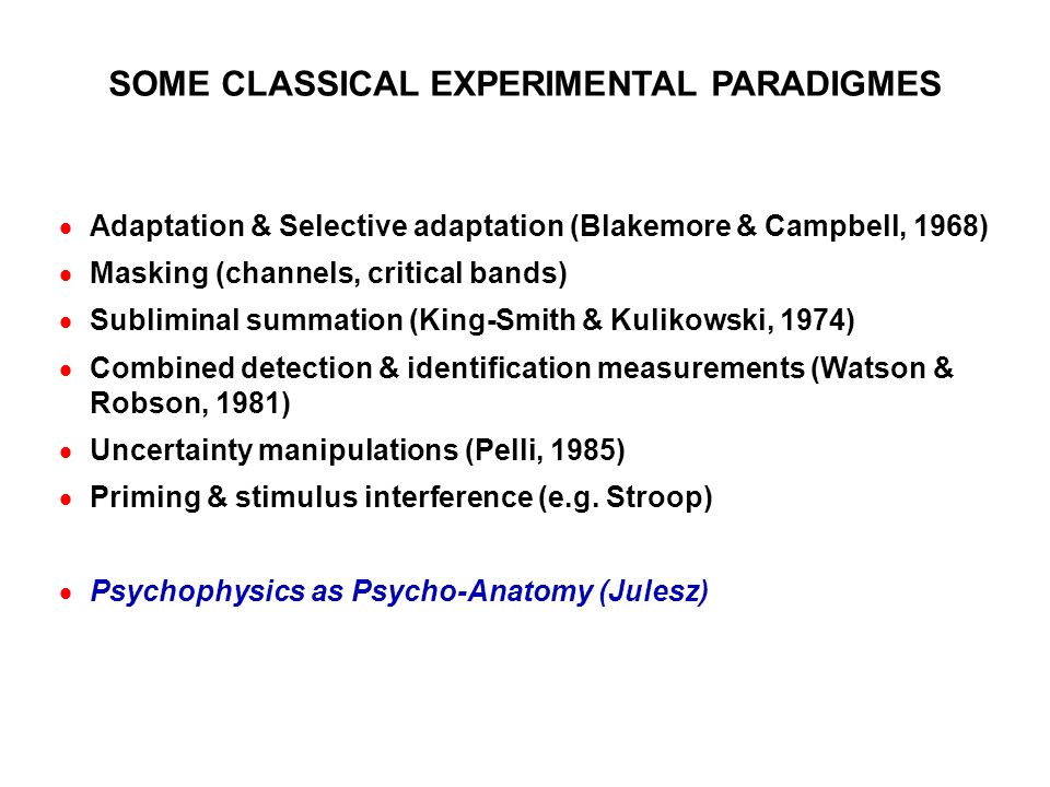 SOME CLASSICAL EXPERIMENTAL PARADIGMES