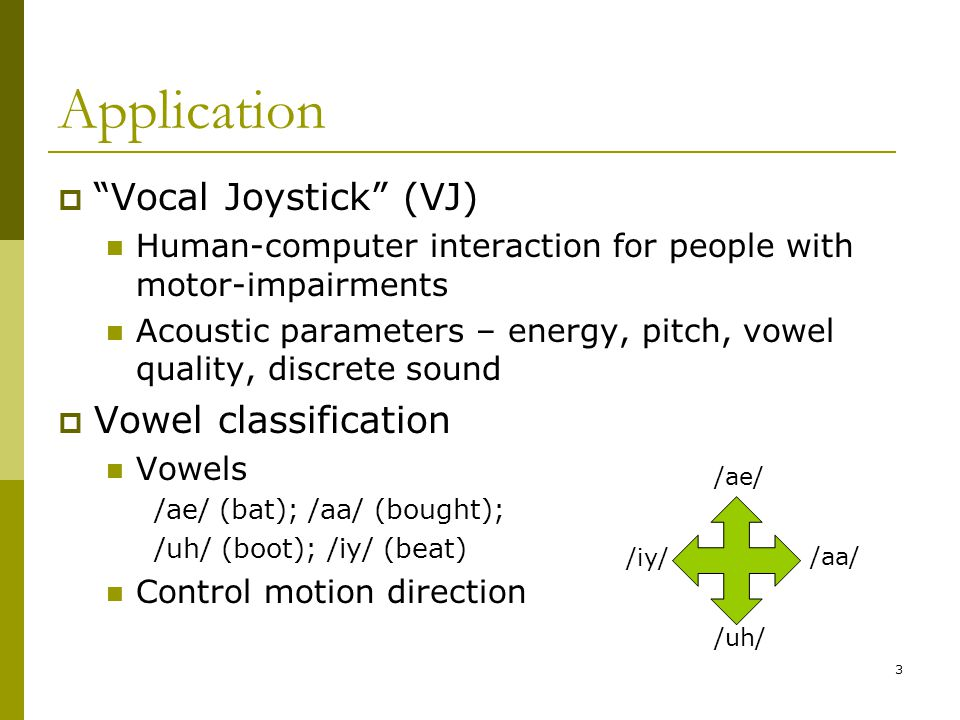 Application Vocal Joystick (VJ) Vowel classification