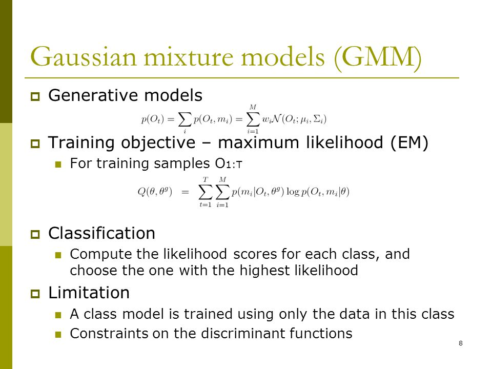 Gaussian mixture models (GMM)