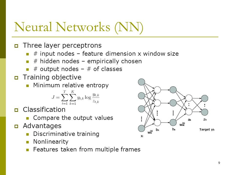 Neural Networks (NN) Three layer perceptrons Training objective