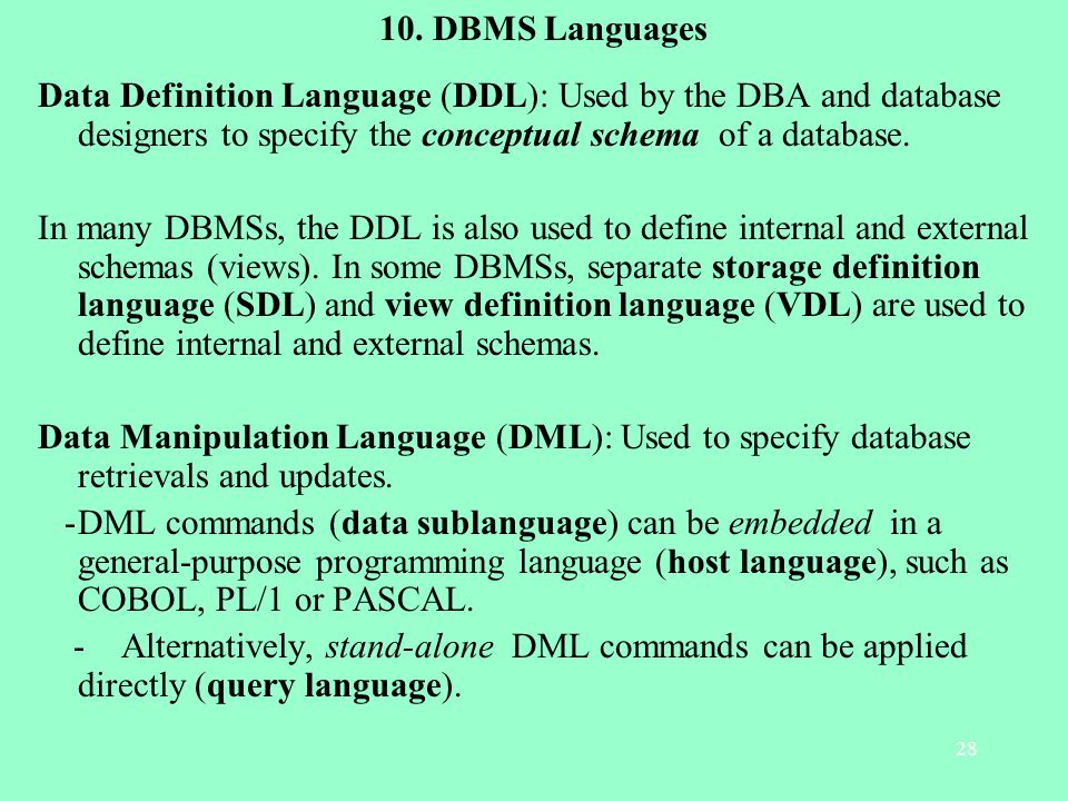Dbms Languages Data Definition Language Ddl Used By The Dba And