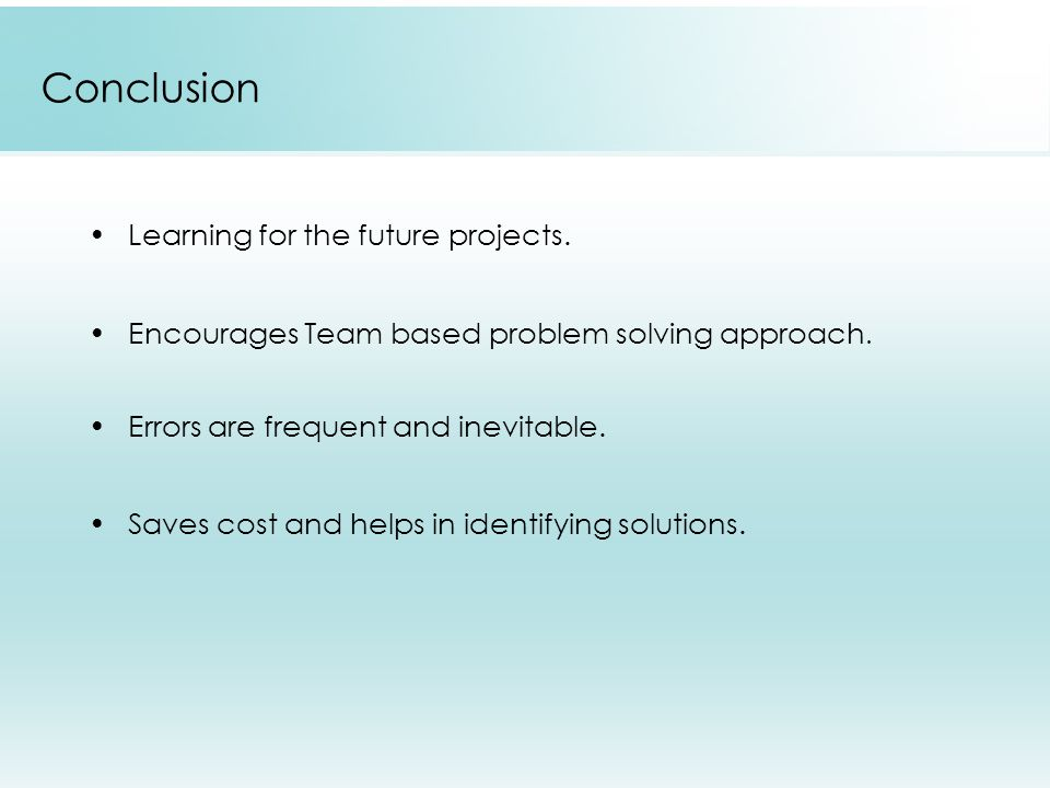 Conclusion Learning for the future projects.